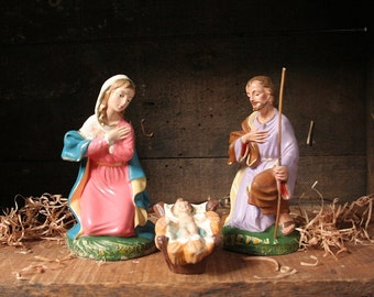 Vintage Nativity set, Italy, large Creche figurines, Christmas manger pieces