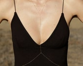 Gold simple body chain/ dainty skinny gold body chain/ layering jewelry gold