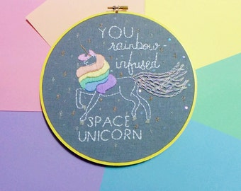 Unicorn Embroidery Hoop // Rainbow-Infused Space Unicorn - Pastel Nursery Decor - Rainbow Baby Room Art - Gifts for Her - Made to Order