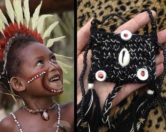 ilumina 2 * Original/*Papua New Guinea Series*/Shaman stash POUCH// crochet wool/glass,coconut, shells & amazonian seed beads/brass stars...