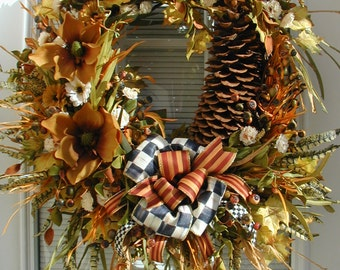 Fall Autumn Winter Wreath Large Spray Sugar Pine Cone Berries Caramel Brown Magnolias Front Door Decoration Luxe Fireplace Silk Floral Decor