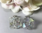 Vintage Glass Bead Earrings Clip-On, Clip On Earrings Glass Beads with Silver Clips