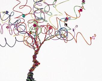 The Unicorn Tree Rainbow Wire Tree Swarovski Crystals Sculpture Bright Colorful Tree Art