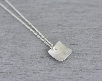 Silver Square Domed Pendant on a sterling silver necklace chain, this popular handmade necklace shows your simple styling : SsqNmD