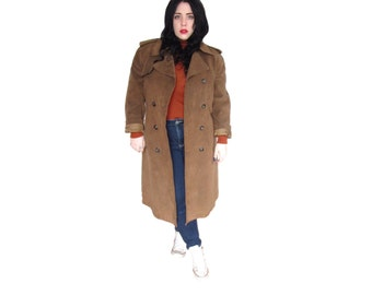 Plus Size Coat / Vintage 1970's Brown Suede Trench Coat / Size 1X