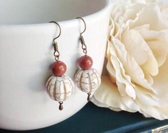 Bead earrings, goldstone gemstone, orange and white earrings, Boho earrings, simple bohemian earrings, tribal earrings, ethnic jewelry