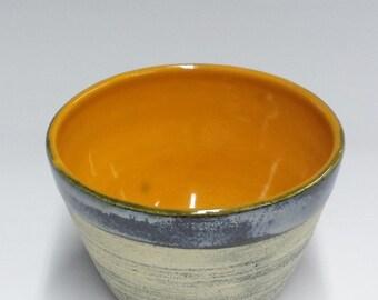Handmade Ceramic Bowl - Bright Orange | Chrome with Black Washed Finish