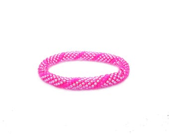 PINK lustered neon Nepal roll on Bracelet / Choose your size: small, middle or bih / Beaded Crochet supple, handmade bracelets