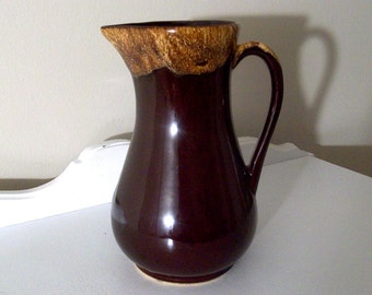 Vintage Pitcher - Brown Drip Style - 1950's - Rustic Pitcher - Retro Kitchen Decor - USA