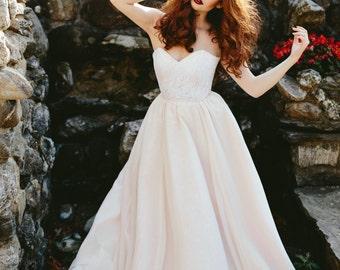 Nora Wedding Dress //Chiffon Covered Handpainted Silk Ball Gown Skirt//Blush Skirt//Stretch Lace Illusion Waist Bustier