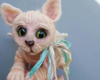 Sphynx cat, needle felted, sphynx kitten, soft sculpture, pink naked cat, wrinkled creatures, cute baby animals, ugly cute hairless cat
