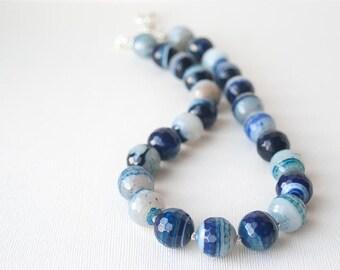 Cobalt Blue Necklace, Statement Necklace, Agate Necklace Set, Cobalt Blue Jewelry, Stone Necklace, Royal Blue Necklace, Delft Blue, Trending