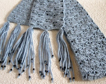 Steel Blue Beaded Scarf. Quarry gray crochet scarf with frosted beads.