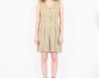 90s Minimal Beige Sleeveless Shorts Romper / Size Small-Medium