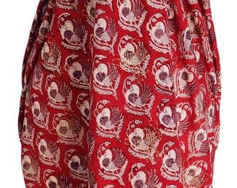 Hand Block Printed Sarong - Red Dove