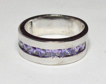 SALE Vintage Sterling Silver Simulated Amethyst Thick Band Size 8