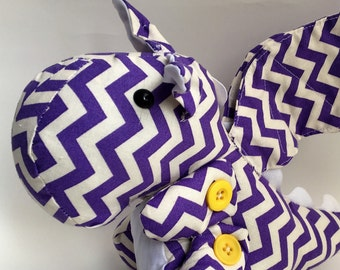 purple and white chevron dragon fabric stuffed toy