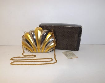 Vintage 1980s shell clam shaped boxy box clutch bag or shoulder handbag in original box gold silver