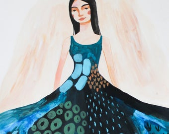 Original Painting, Royal, Acrylic Art, Woman Portrait