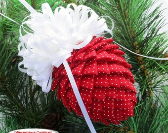 Fabric Pinecone Ornament - Red with Tiny White Polka Dots - Christmas Ornament, Stocking Stuffer, Co-Worker Gift, Ornament Exchange Gift