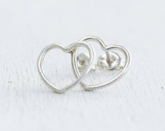 Sterling Silver Open Heart Earrings - Post Earrings - Gift For Her - Silver Jewelry