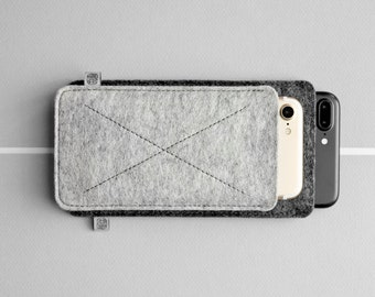 iPhone 7 Case, iPhone 6 Sleeve, iPhone 7 Pouch, iPhone SE, eco-friendly, wool felt | CROSS (multicolor)