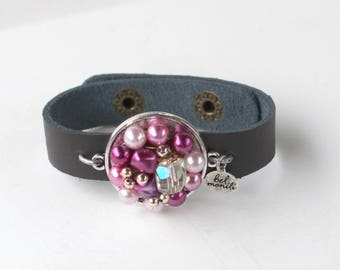 Purple Bracelet, Purple Jewelry, Snap Bracelet, Leather Cuff, Cuff Bracelet, Vintage Bracelet, Recycled Bracelet, Upcycled, Boho Bracelet