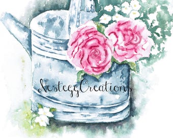 Watercolor Painting Watering Can with Peonies Orginal Wall Art Handmade Collectable