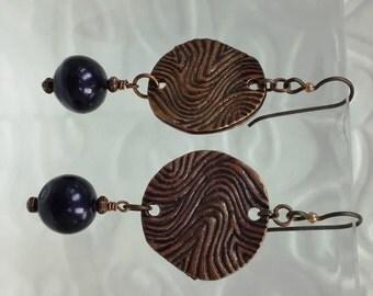 Beautiful Copper Coin & Fresh Water Pearl Earrings