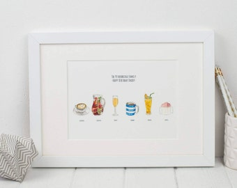 Personalised Favourite Drinks Illustration Print
