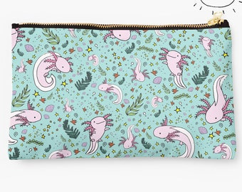 Axolotl Pouch, Axolotl Pencil Case, Axolotl Purse, Axolotl Bag, Axolotl Design, Axolotl Gift, Axolotl Pattern, Axolotls, Axolotl Lovers