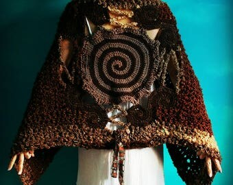 Crochet Shawl,Knit Shawl,Chunky Knit,Handmade Wrap,Cloak,Cape,Coat,Sweater,Womens Clothing,Gypsy,Hippie,Boho,Spiral,Unique,