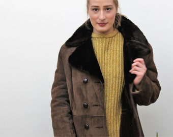 Dark Brown Sheepskin Full Length Coat Size UK 14, US 10, EU 42