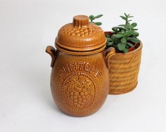 West German Pottery Light Brown Rumtopf Jar
