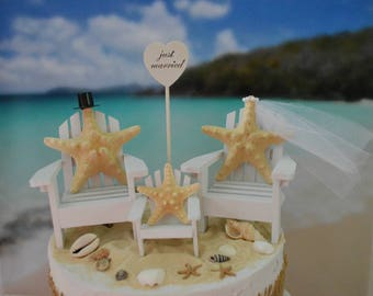 Family-beach-wedding-cake topper-beach chairs-bride groom baby-destination wedding-beach wedding-Adirondack chairs-small chairs-nautical
