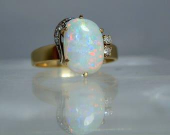 Vintage 18k Gold Opal Diamond Ring Size 9 Fantastic Color Play Bigger Opal Cabochon DanPickedMinerals