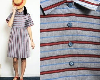 15% SALE (Regular price 88) Pure cotton striped Smock Dress with Collar and Buttons [Camille dress/Blue-red]