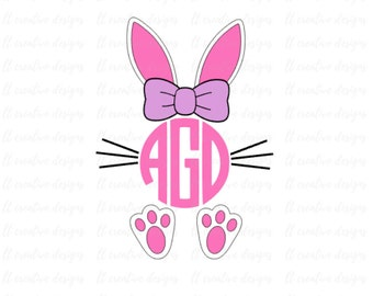 Easter Monogram Bunny SVG, Easter SVG, Monogram Bunny SVG, Easter Bunny Svg, Easter Cutting files, Silhouette and Cricut Cut Files