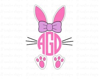 Easter Monogram Bunny SVG, Easter SVG, Monogram Bunny SVG, Easter Bunny Svg, Easter Cutting files, Silhouette and Cricut Cut Files
