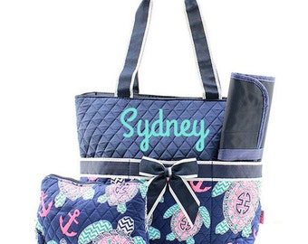 Monogram Diaper Bags Personalized Diaper Bag With Navy Quilted Top And Sea Turtle Design Monogrammed Diaper Bag 3 Piece Set