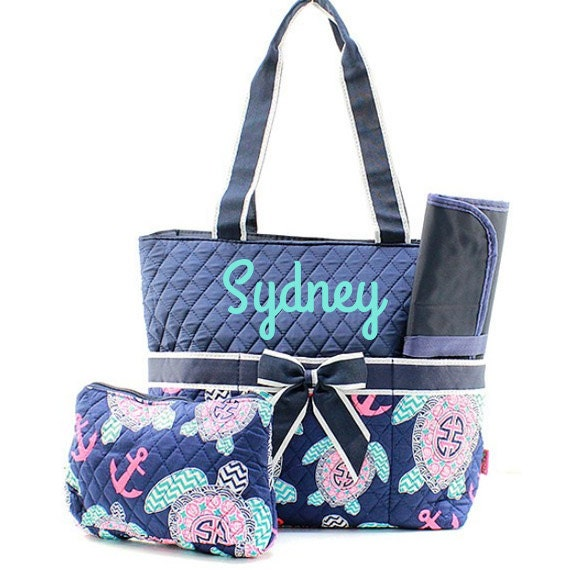 monogram diaper bags personalized diaper bag with navy quilted. Black Bedroom Furniture Sets. Home Design Ideas