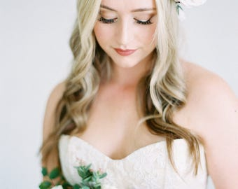 Waverly- Ombre Floral Crown created with blush pink, lavender, mauve and deep purple flowers with eucalyptus