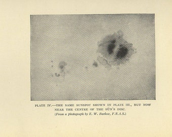 Astronomy Print, 106 years old, Sunspots Near the Centre of the Sun's Disc, astronomical star chart map space 1910 astrology