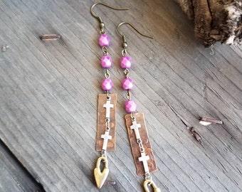Heart Earrings Cross Earrings Pink Earrings Mixed Metal Earrings Religious Earrings Paris Flea Market Rustic Earrings New Mexico Arizona