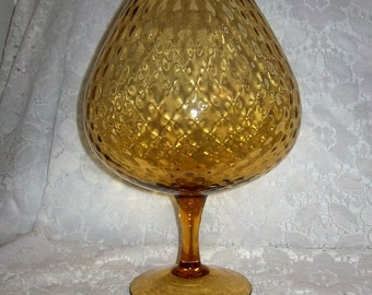 Vintage Amber Italian Art Glass Brandy Snifter Vase Empoli Optic Mid Century Only 12 USD