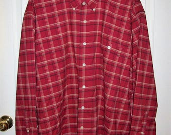 Vintage Men's Red Plaid Long Sleeve Shirt by Towncraft XL Only 6 USD