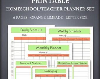 Printable Homeschool Planner Set - Teacher Planner Set - Orange Limeade - School Planner Set - Student Planner Set