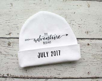 Pregnancy Reveal, Personalized Infant Hospital Hat,  Personalized Newborn Beanie, Baby Name Hat, Newborn Hospital Hat, Adventure Begins Hat
