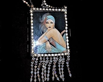 Roaring 20s Flapper Rhinestone Purse, Bright GATSBY Sparkling Vintage Rhinestones, Hand Beaded Crystal Glass Tassels on New Metal Wallet