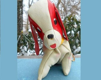 Darling Little Doggy PURSE w/ Red & White Leather Vinyl, Collar, Metal Buckle, Chain, Zipper, Red Stitch Trim Big Ears. 55 Years Old  49.90